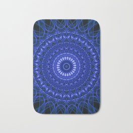 Dark blue mandala Bath Mat