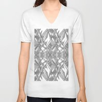 blueprint V-neck T-shirts featuring Blueprint - monochrome by Etch by Design