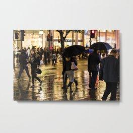 Rainy Night on Oxford Street, London Metal Print