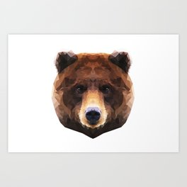 Low Poly Bear Illustration Art Print