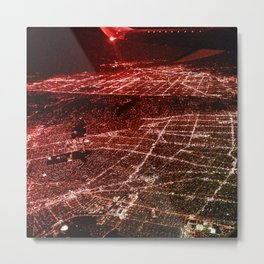 Night Flight out of Los Angeles Red Metal Print