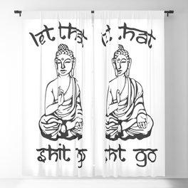 Let That Shit Go - Buddha in Sanskrit Blackout Curtain