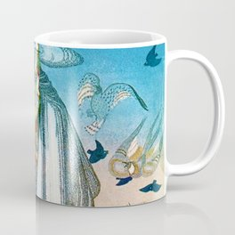 'Flock of Birds and Wild Flowers' magical realism portrait painting by Kay Nielsen Coffee Mug