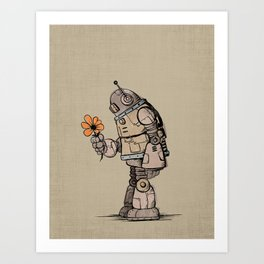 A Robot and his Flower Art Print