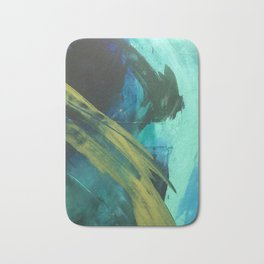 Align: a bold, abstract minimal piece in blues and greens Bath Mat