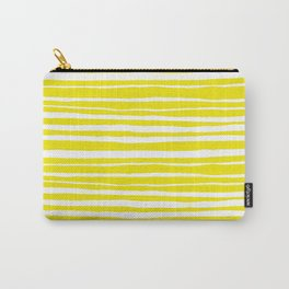 Small Sun Yellow Handdrawn horizontal Beach Stripes - Mix and Match with Simplicity of Life Carry-All Pouch