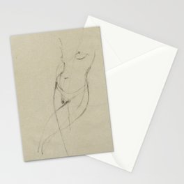 Minimalist Nude Woman Figure Female Gesture Drawing Sketch Long Vertical Stationery Cards