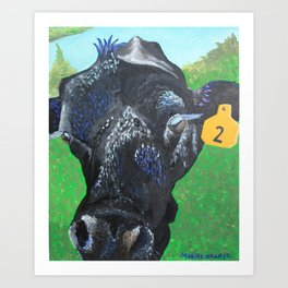 John Henry the Bull colorful cow painting Art Print