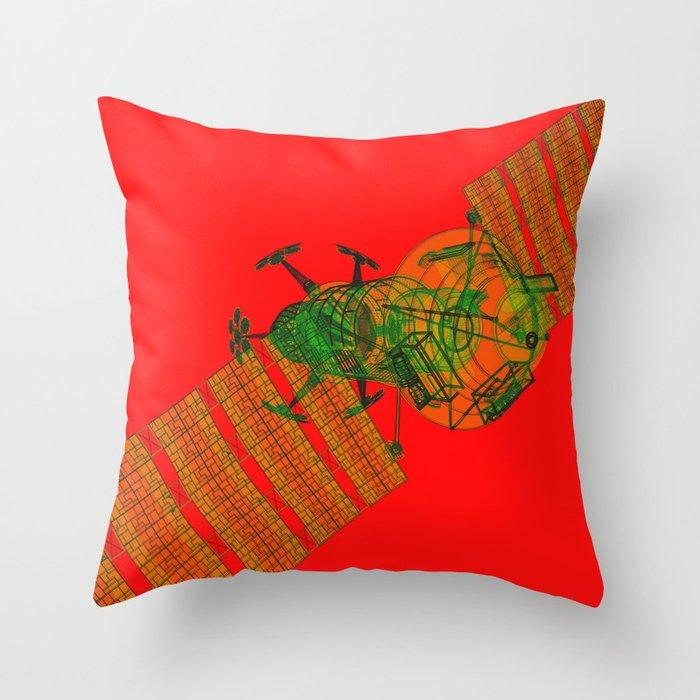 Explorer Schematic Warped Green on Red Throw Pillow