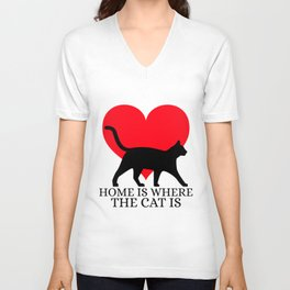 Home Is Where The Cat Is Black Cat With Heart Animal Lover Art Unisex V-Neck