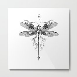 Dragon Fly Tattoo Black and White Metal Print