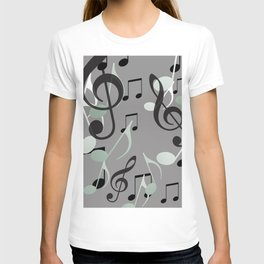 Many Music Notes with clef grey and black T-shirt