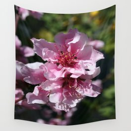 Peach Tree Blossom With Garden Background Wall Tapestry