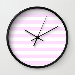 Narrow Horizontal Stripes - White and Pastel Violet Wall Clock