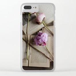 peonies and books Clear iPhone Case