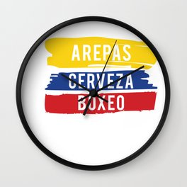 Arepas Cerveza Boxeo design Colombian flag Boxing fan Gift Wall Clock