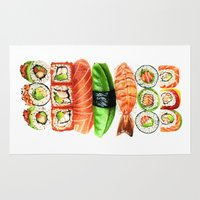 sushi Area & Throw Rugs featuring Sushi by Sam Luotonen