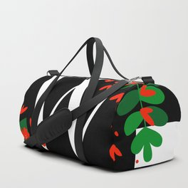 W - Monogram Black and White with Red Flowers Duffle Bag
