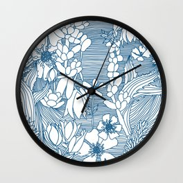 Lineal Floral Herbs Wall Clock