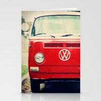 vw bus Stationery Cards featuring Red VW Bus by Anna Dykema Photography
