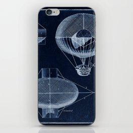 Antique Blueprint French Balloon Airship, Steampunk iPhone Skin