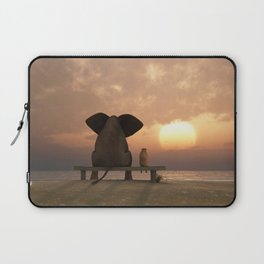elephant and dog sit on a summer beach Laptop Sleeve