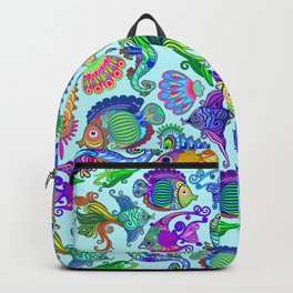 Marine Life Exotic Fishes & SeaHorses Ornamental Style Backpack