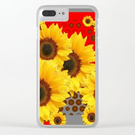 RED-YELLOW SUNFLOWERS GREY ABSTRACT Clear iPhone Case