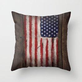 Wood American flag Throw Pillow
