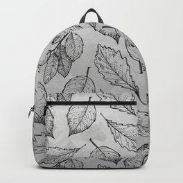 Autumn Leaves Grey Pattern Backpack