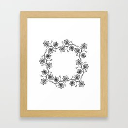 Black and White Floral Wreath Lineart Framed Art Print