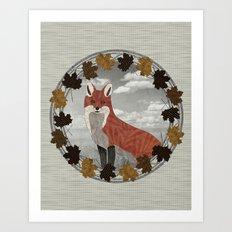 Red Fox Autumn Wreath Art Print