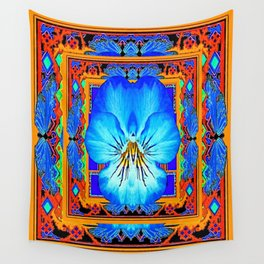Orange Southwest Blue pansy Patterned Art Design Wall Tapestry