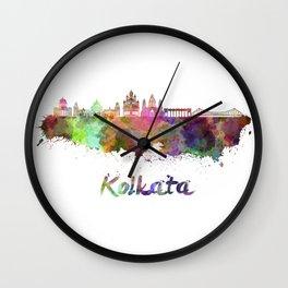 Kolkata skyline in watercolor Wall Clock