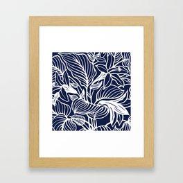 Navy Blue Floral Minimal Framed Art Print