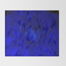 Royal Blue Fractal dahlia Throw Blanket