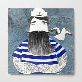tattoo sailor in blue stripes watercolor illustration Metal Print