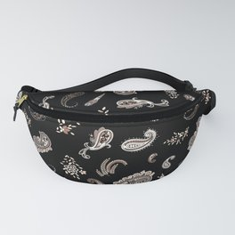 Brown Modern Paisley and Flower Fanny Pack