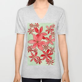 Red Flowers Watercolor and Ink Custom Art Design Unisex V-Neck
