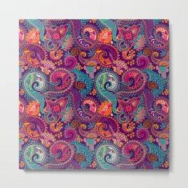 Purple Orange & Teal Floral Paisley Metal Print