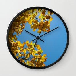 Leaves of Gold - Azure Skies Wall Clock