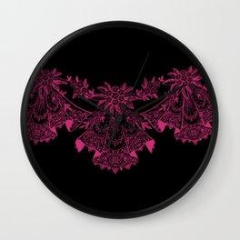 Vintage Lace Hankies Black and Pink Yarrow Wall Clock