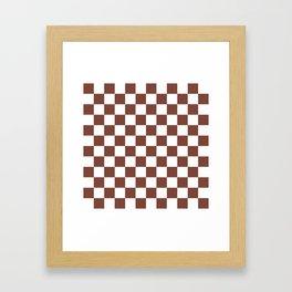 Checkered (Brown & White Pattern) Framed Art Print