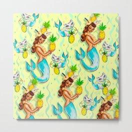 Tropical Pineapple Mermaid with Merkitties Metal Print