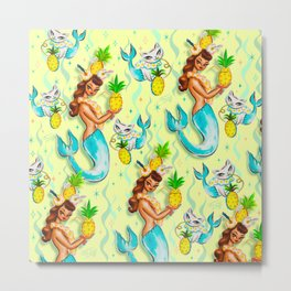 Tropical Pineapple Mermaid with Merkitties Metal Print