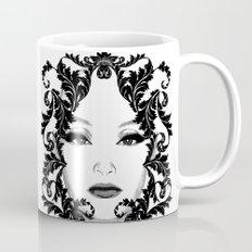 Black and white floral face ornament Mug