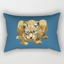 Eurasian lynx ready to attack - cats eyes - threatened species - european wildlife watercolor artist Rectangular Pillow