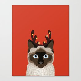 Siamese Cat Reindeer Costume funny cat art for cat lady gift for the holidays cats christmas outfit Canvas Print