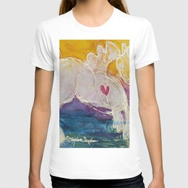 pink golden heart horse pony watercolor by CheyAnne Sexton T-shirt