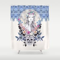 gemma Shower Curtains featuring Topeng by Gemma Hodgson Design
